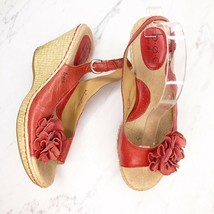 BOC Born Concept Red Leather Floral Platform Wedge Sandals Shoes Size 8 - $12.58