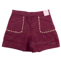 NWT Gymboree Adjustable Waist Girl Short Shirt Skort Red Maroon 100% Cotton Sz 7 - $19.99