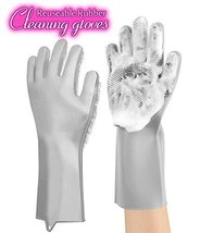 ANZOEE Reusable Silicone Dishwashing Gloves, Pair of Rubber Scrubbing Gloves for