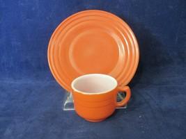 Dk Orange Cup&Plate Vintage Hazel Atlas Little Hostess Platonite Moderntone 50's - $25.00