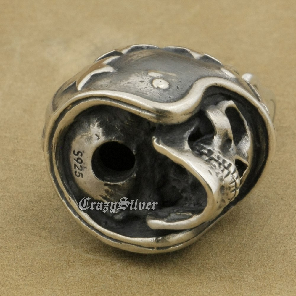 LINSION 925 Sterling Silver Motorcycle Helmet Skull Mens Punk Pendant Necklace image 8