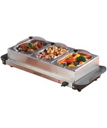 Buffet Server 3 Warming Tray Three Stainless Steel Pans Party Food Warme... - $88.93