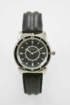 Fossil Watch Mens Stainless Silver Steel 24hr Black Leather Water Res 30m Quartz - £26.86 GBP