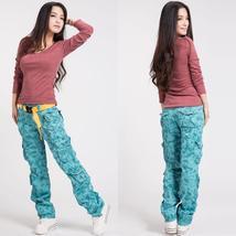 Womens Camouflage Cargo Pants Girls Harem Hip-Hop Pants Street Dance Costume Fas