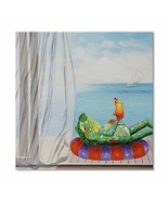 7CANVAS Modern Animal Quadros Funny Frog with Juice Stretched Wall Pictu... - $55.64
