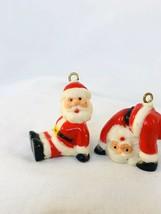 2 Vintage Miniature Ornaments Santa Claus Hard Plastic 1 Inch - $9.90