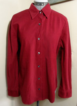 EDDIE BAUER Corduroy Dress Shirt L Red button up Long sleeve COllared blouse - $16.82