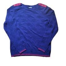 Talbots Blue Textured Pullover Sweater Magenta Trim Button Shoulder Sz S... - $15.47