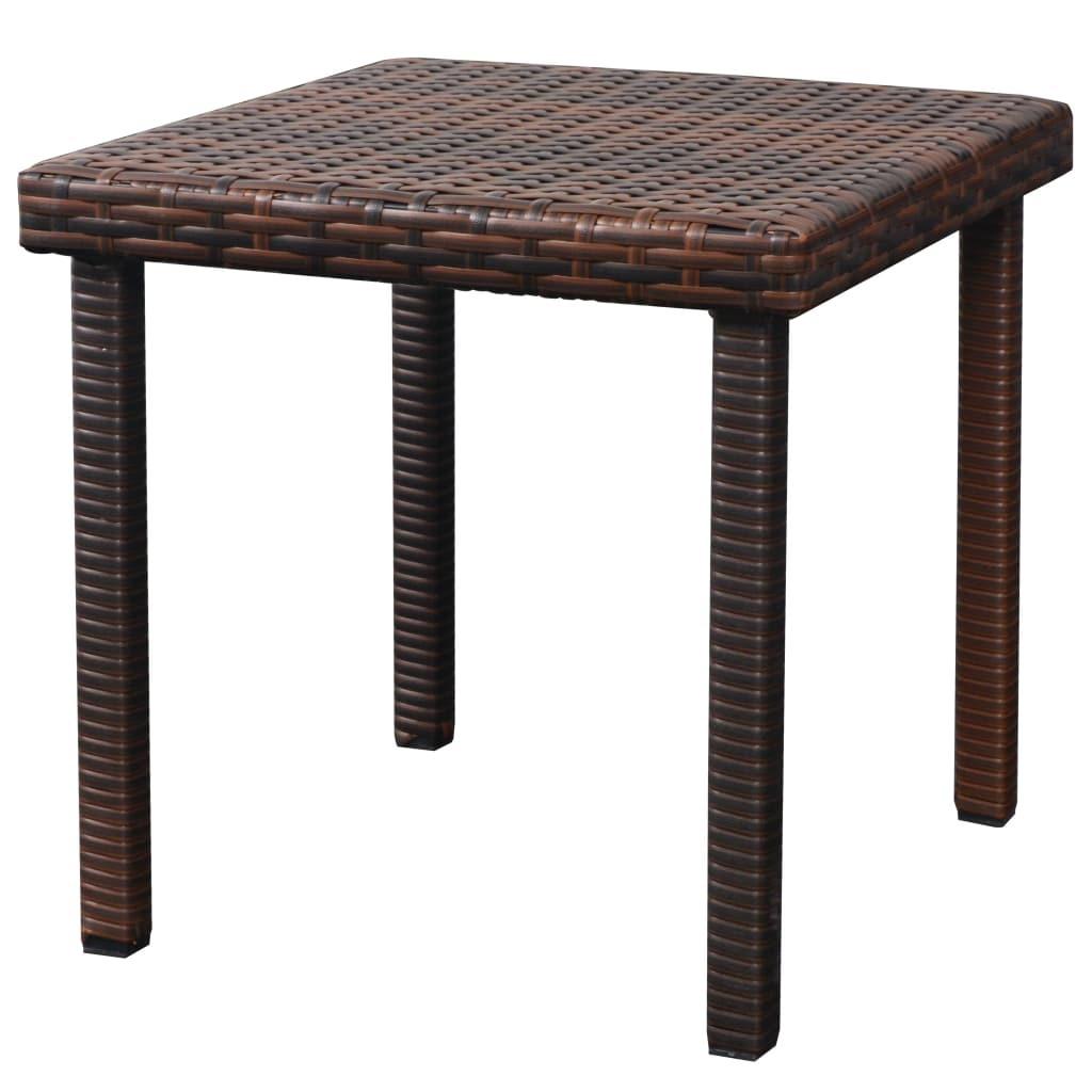 vidaXL Sunloungers w/ Table 5 Piece Poly Rattan Brown Patio Garden Chair Seat