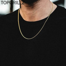 """Chain 3mm 18"""" 20"""" 24"""" 30"""" Gold Silver Color Stainless Necklace Jewelry S... - $6.35+"""