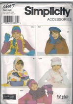 4847 Vintage Simplicity SEWING Pattern Girls Hats Scarves Mittens S M L ... - $6.92