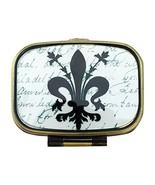 Value Arts Fleur de Lis Pill Box, Brass and Glass, 2.25 Inches Long - $15.18