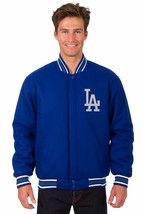 MLB Los Angeles Dodgers JH Design Wool Reversible Jacket Embroidered Logos Blue - $169.99