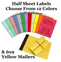 6x9 ( Yellow ) Poly Mailers + Colored Half Sheet Self Adhesive Shipping ... - $2.99+