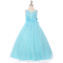 Aqua Illusion Arise Flowers Embellishment Lace Floor Length A-Line Girl Dress - $169.99+