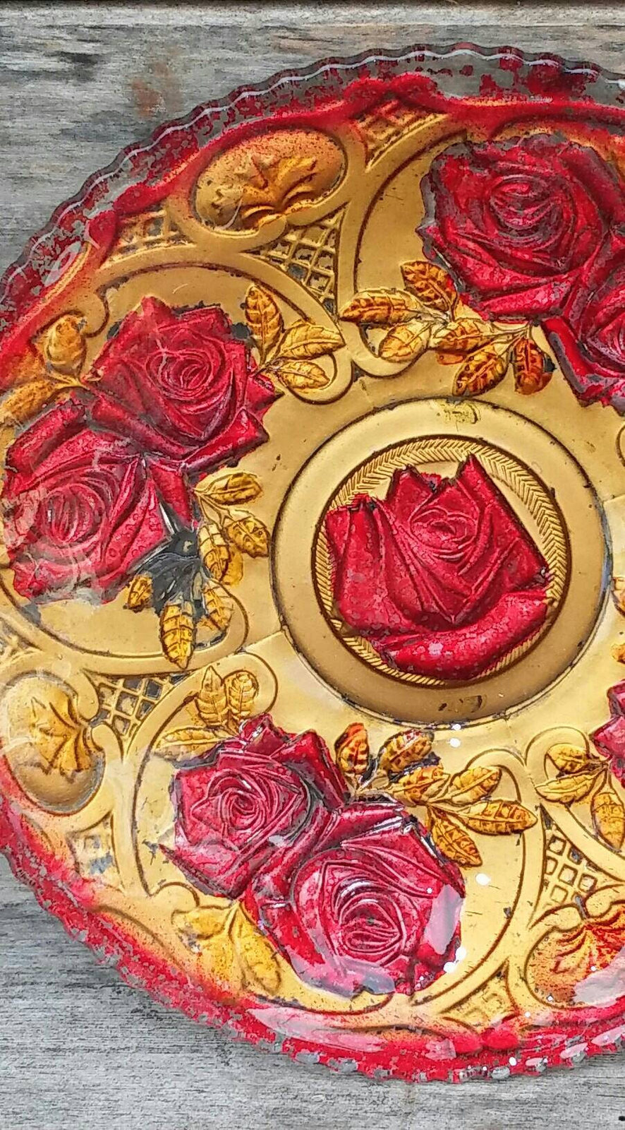 Indiana Glass 1920s Plate, Roses in the Snow Goofus Glass
