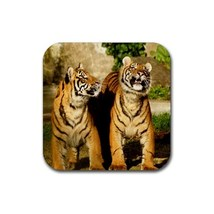 Cute Two Tiger Cubs Animal (Square) Rubber Coaster - $2.99
