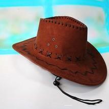 Summer Coffee Cowboy Hat Suede Look Wild West Fancy Dress Men Women Cowg... - $9.22