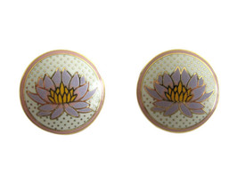 "Laurel Burch Gold Tone & Enamel ""Tibetan Lily"" Earrings - $18.00"