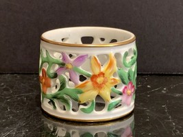 Herend Porcelain Floral Reticulated Napkin Ring - $29.00