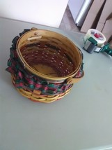 Collectible  Christmas in Zoar Hand Woven Handled Basket with Cloth Skirt - $7.36