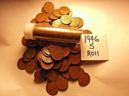 1946-S LINCOLN WHEAT CENT ROLL !! AVERAGE to GOOD !! 50 ctn.ROLL *SALE - $7.25