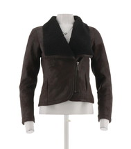 H Halston Faux Shearling Lng Slv Motorcycle Jacket Dark Chocolate 10 NEW... - $63.34