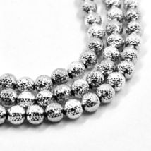 """18K WHITE GOLD BALLS CHAIN WORKED SPHERES 4mm DIAMOND CUT, FACETED 16"""", 40cm image 3"""