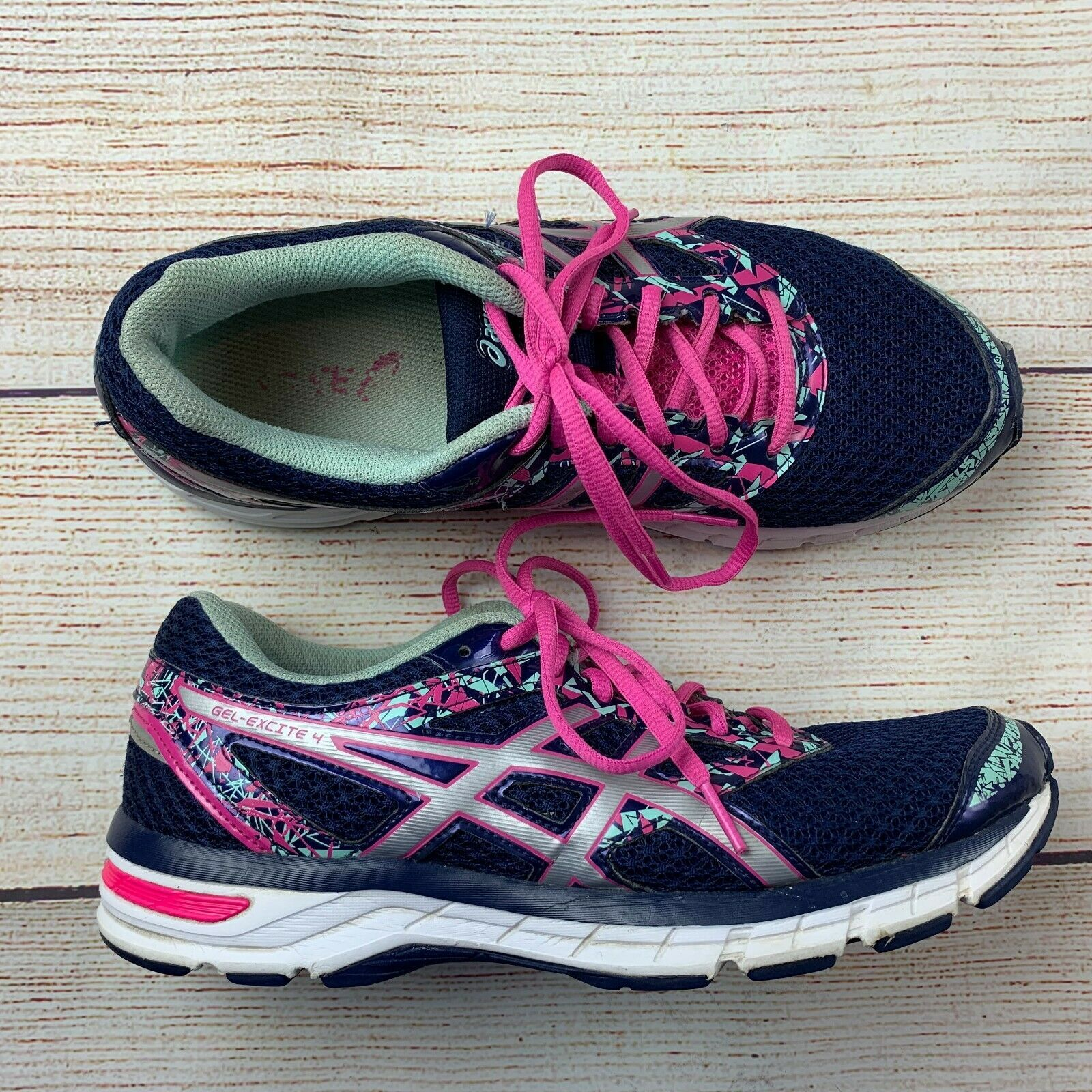 Asics womens Gel Excite 4 Navy Pink Running Shoes Sneakers 10/ 42 EUC