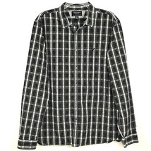 American Eagle Mens Shirt Plaid XL Slim Fit Black Blue White See Descrip... - $108,42 MXN