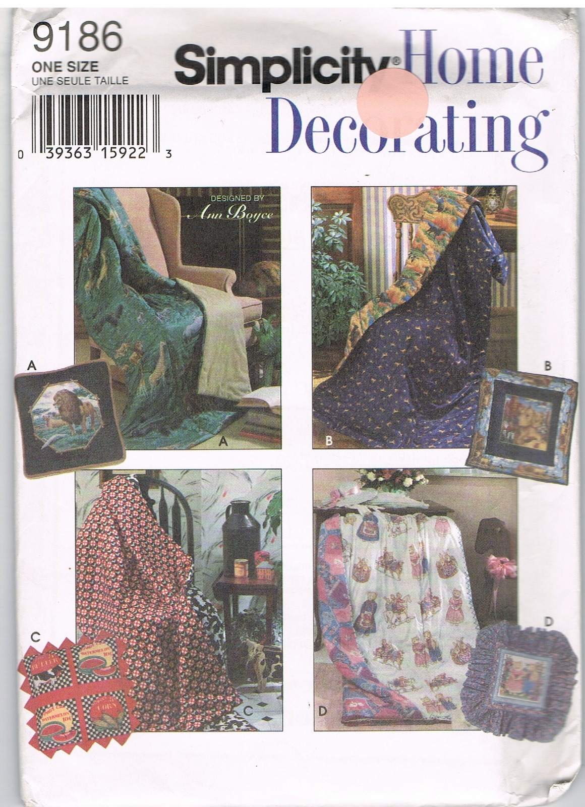 Primary image for Simplicity 9186 Simplicity Home Decorating Sewing Pattern Pillow Quilt