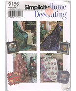 Simplicity 9186 Simplicity Home Decorating Sewing Pattern Pillow Quilt - $9.95