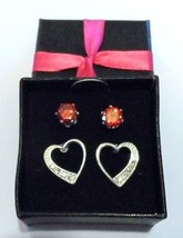 Red Cubic Zirconia and Heart Stud Set in Gift Box by Avon - $14.49