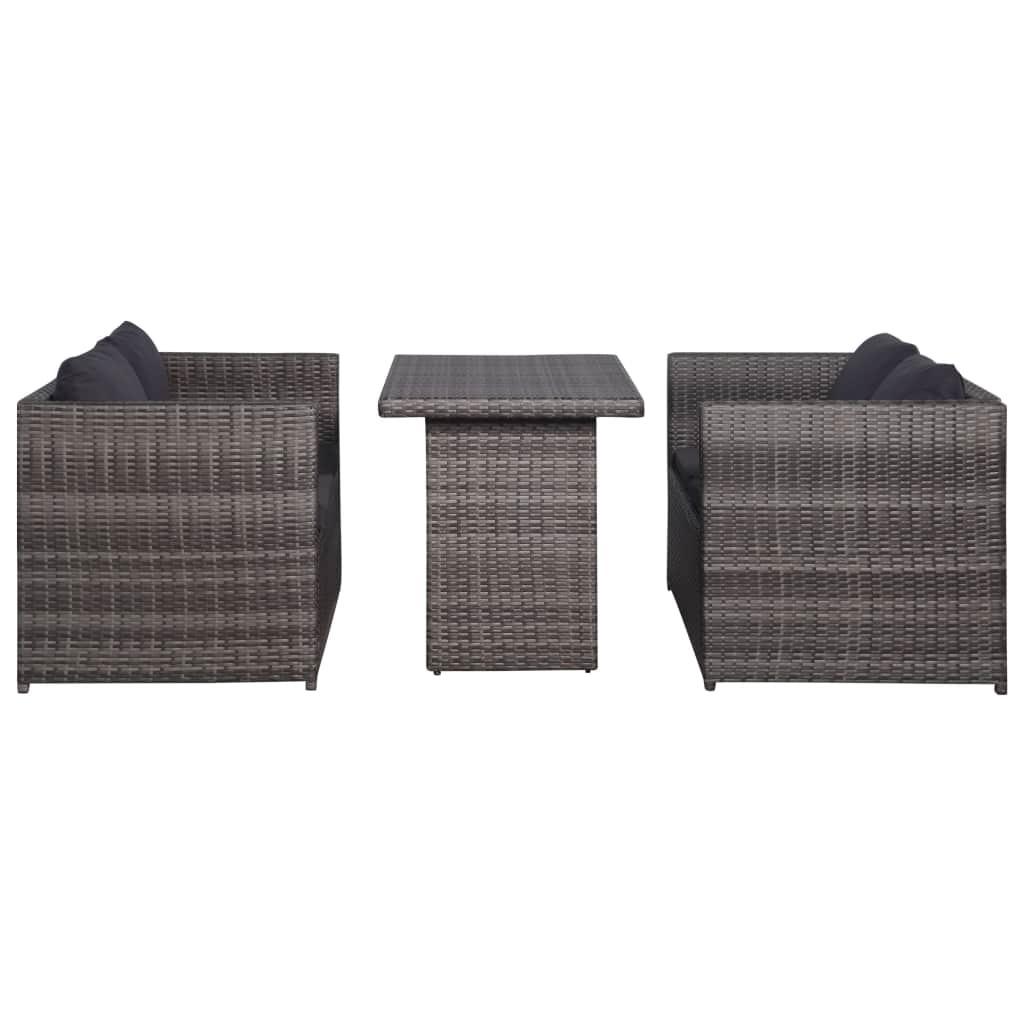 vidaXL 3 Piece Garden Lounge Set w/ Cushions Poly Rattan Seat Multi Colors