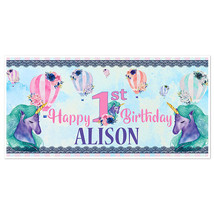 Unicorn Hot Air Balloons First Birthday Banner Party Decoration Backdrop - $22.28+