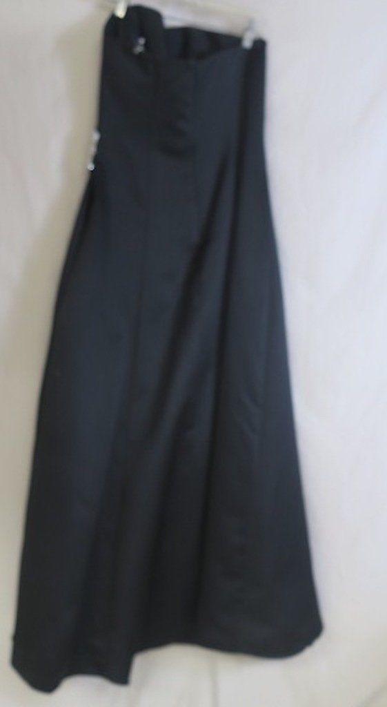 David's Bridal Black strapless Bridesmaid Dress, satin, cinched waist, rhineston