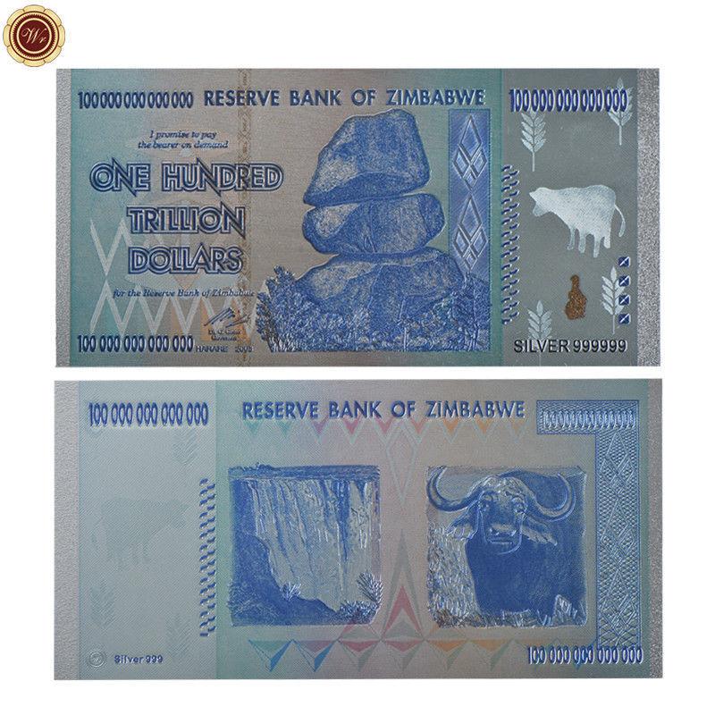 100pcs//box Silver One Hundred Trillion Dollar Zimbabwe Banknote Business Gifts