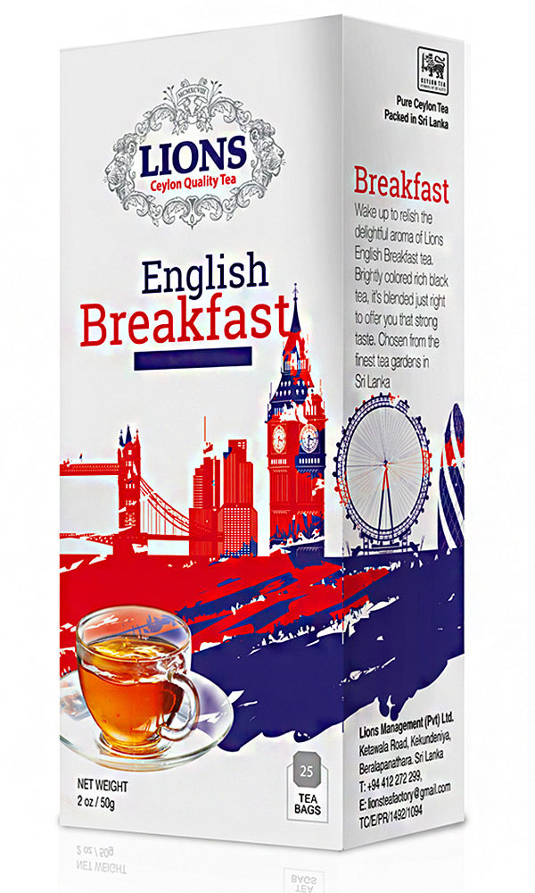 Lions Tea English Breakfast, Pure Ceylon Black Tea, 25 Tea Bags - $6.50