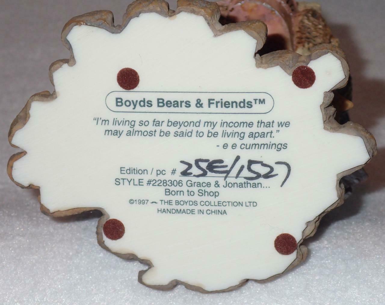 Boyd Bearstone Resin Bears 1997 Grace and Jonathan Born To Shop Figurine 25E image 4