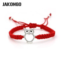 JAKONGO Crystal Owl Charm Bracelet Braided Red Rope Bracelet for Women M... - $7.92