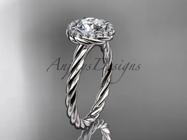 Rope engagement ring, 14kt white gold halo rope diamond engagement ring ... - $1,295.00