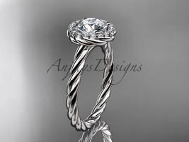 Rope engagement ring, 14kt white gold halo rope diamond engagement ring ... - $1,295.00