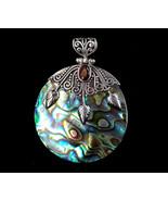"Vintage Sterling Silver Bali Abalone Shell Onyx Garnet Gemstone Pendant 2"" - $107.99"