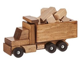 DUMP TRUCK with CARGO - Wood Construction Building Blocks Set USA AMISH ... - $127.37