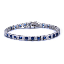 Sterling Silver Princess Cut Sapphire Blue And Clear Cubic Zirconia Tenn... - $159.99