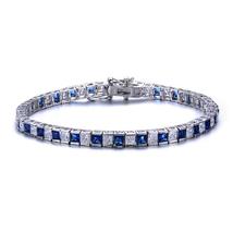 Sterling Silver Princess Cut Sapphire Blue And Clear Cubic Zirconia Tenn... - $159.99