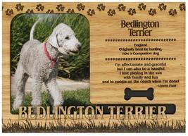 Bedlington-Terrier Engraved Wood Picture Frame Magnet - $11.58