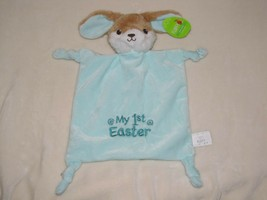 happy go fluffy Bunny Rabbit Lovey Security Blanket Blue my 1st easter rattle - $69.29