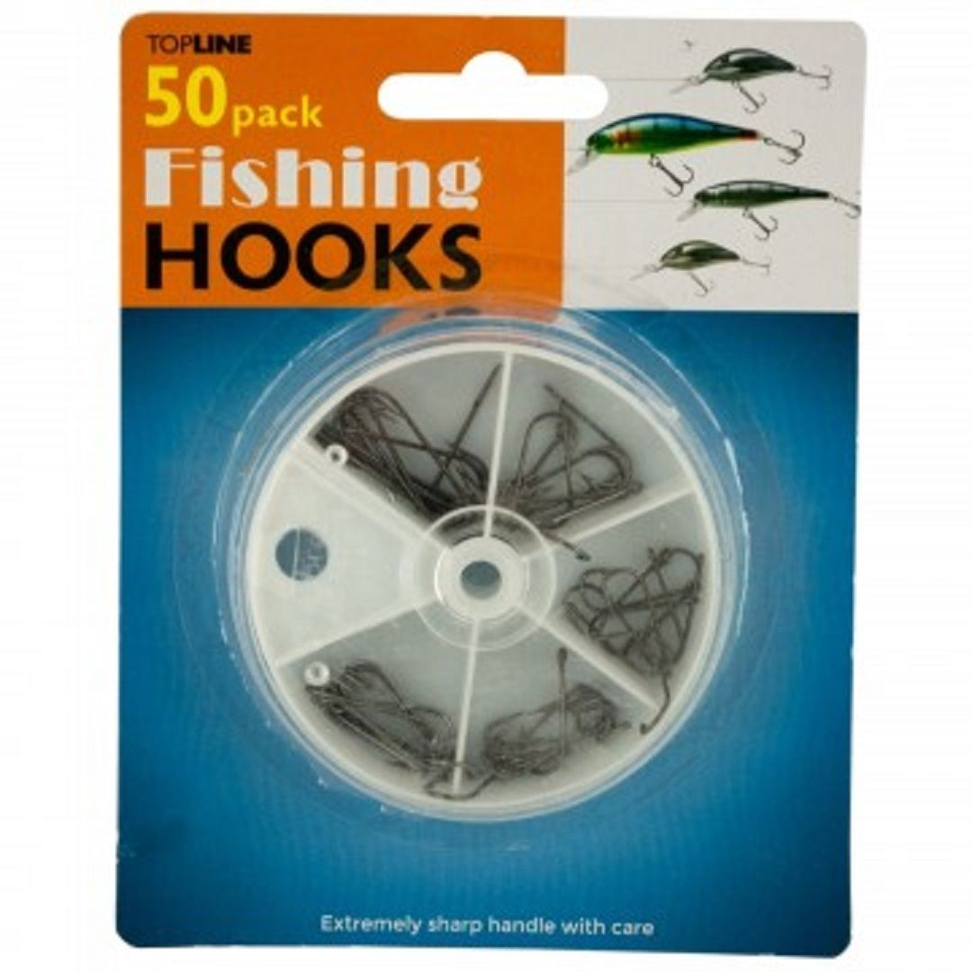Kole Imports Fishing Hooks Set In Divided Case Reel - One Item