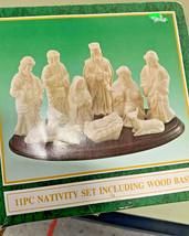 11 piece Nativity set + wood base holiday decoration decor xmas religiou... - $80.18